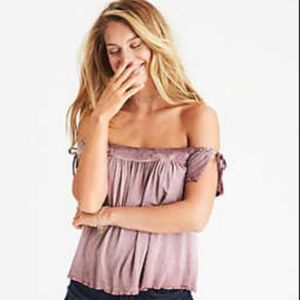 AE Soft&Sexy | burgundy red wine off shoulder top